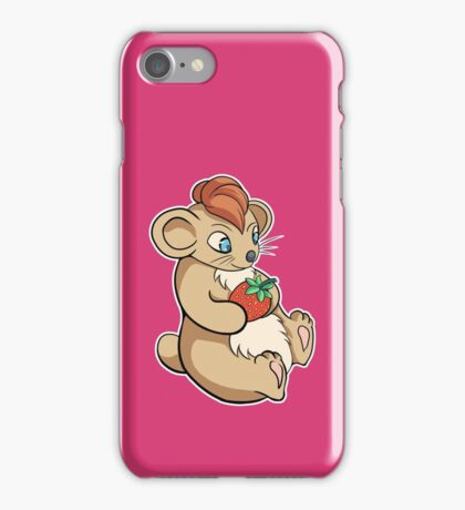 Cute Hamster With Strawberry iPhone Case/Skin