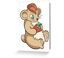 Cute Hamster With Strawberry Greeting Card
