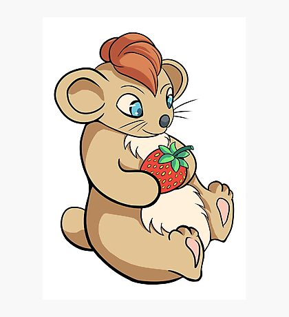 Cute Hamster With Strawberry Photographic Print