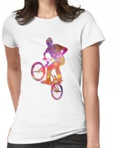 Man bmx acrobatic figure in watercolor Womens Fitted T-Shirt