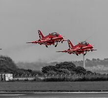 Red Arrows taking off by Paul Madden