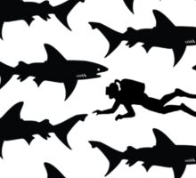 Diver in a School of Sharks Sticker