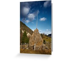 Hay stacks and mountains Greeting Card