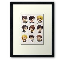 Attack On Titan: Chibi Characters Framed Print