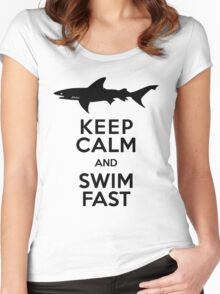 Shark! Keep Calm and Swim Fast Women's Fitted Scoop T-Shirt