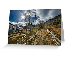 Rural road in the mountains Greeting Card
