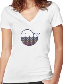 Whale in sunset waves Women's Fitted V-Neck T-Shirt