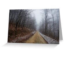 Foggy road in the forest Greeting Card