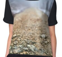 Foggy road in the forest Chiffon Top