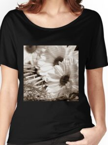 WHITE FLOWERS Women's Relaxed Fit T-Shirt