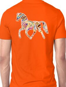 COOL, HORSE, Psychedelic Horse, Horse shape in gradient color, on BLACK Unisex T-Shirt