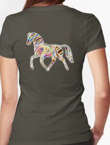 COOL, HORSE, Psychedelic Horse, Horse shape in gradient color, on BLACK Womens Fitted T-Shirt
