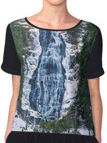 Mountain waterfall on winter Chiffon Top