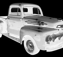 Black And White 1951 Ford F-1 Pickup Truck  by KWJphotoart