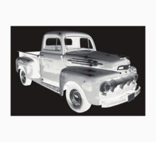 Black And White 1951 Ford F-1 Pickup Truck  One Piece - Long Sleeve