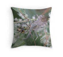 Wheel Bug (Assassin Bug) Eating Dinner   Throw Pillow