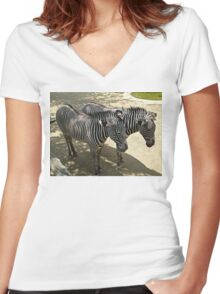 Los Angeles Zoo Zebras Women's Fitted V-Neck T-Shirt