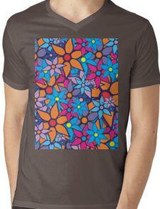 Trendy Floral Pattern Mens V-Neck T-Shirt