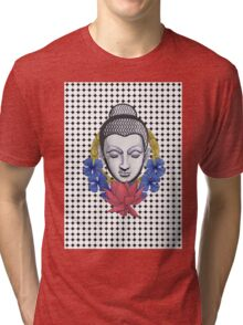 Buddah and flowers Tri-blend T-Shirt