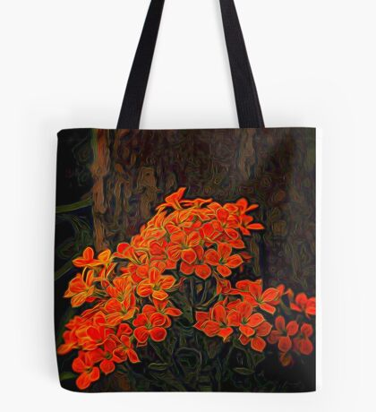 Orange Flowers Painted Tote Bag