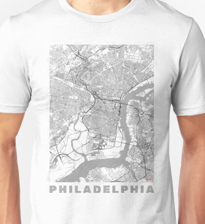 Philadelphia City Map Line Unisex T-Shirt