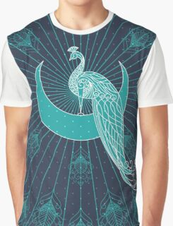 Peafowl On The Moon Graphic T-Shirt