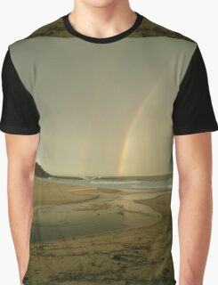 Double Rainbow Beach Dog  Graphic T-Shirt