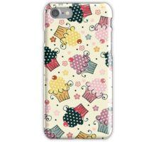 Cute Colorful Cupcakes Pattern, Beige Background iPhone Case/Skin
