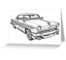1955 Lincoln Capri Luxury Car Illustration Greeting Card