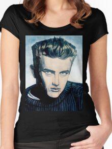 James Dean: Blue Women's Fitted Scoop T-Shirt