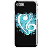 Blue Splatter Base & Treble Clef iPhone Case/Skin