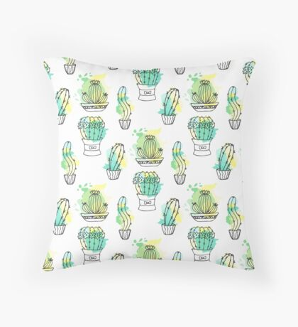 Cactus Pattern. Hand Drawing Succulents On Paint Splashes Throw Pillow