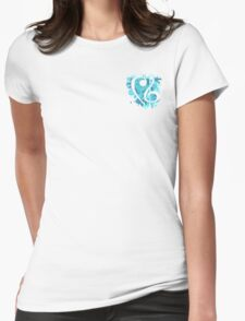 Small Blue Splatter Bass & Treble Cleff  Womens Fitted T-Shirt