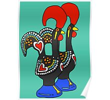 Portuguese Rooster Couple Poster