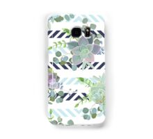 Green colorful succulent Echeveria seamless vector design print Samsung Galaxy Case/Skin