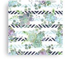 Green colorful succulent Echeveria seamless vector design print Canvas Print