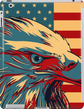 American Patriotic Eagle Flag iPhone 5 Case /  iPad Case / iPhone 4 Case / Prints  / Samsung Galaxy Cases / Duvet   by CroDesign
