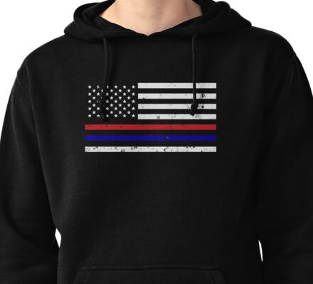 Thin Blue Red Line Flag Pullover Hoodie