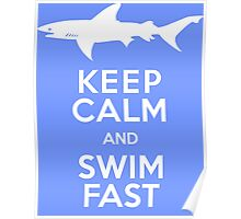 Keep Calm and Swim Fast Funny Poster