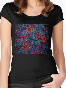 Retro Trendy Floral Pattern Women's Fitted Scoop T-Shirt