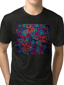Retro Trendy Floral Pattern Tri-blend T-Shirt