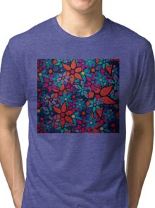 Retro Trendy Floral Pattern Tri-blend T-Shirt