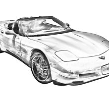 C5 Corvette convertible Muscle Car Illustration by KWJphotoart