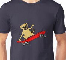 Funny Pug Dog Skateboarding Cartoon Unisex T-Shirt