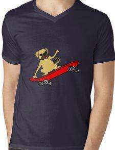 Funny Pug Dog Skateboarding Cartoon Mens V-Neck T-Shirt