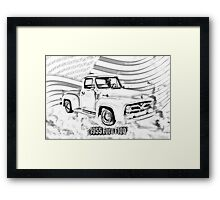 1955 F100 Ford Pickup Truck and Flag Illustration Framed Print