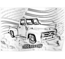 1955 F100 Ford Pickup Truck and Flag Illustration Poster