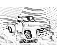 1955 F100 Ford Pickup Truck and Flag Illustration Photographic Print