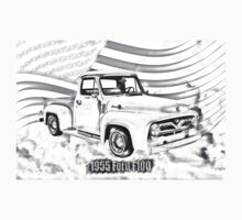 1955 F100 Ford Pickup Truck and Flag Illustration One Piece - Short Sleeve