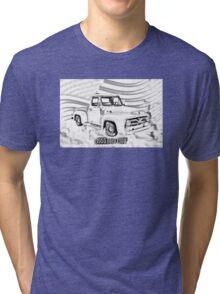 1955 F100 Ford Pickup Truck and Flag Illustration Tri-blend T-Shirt